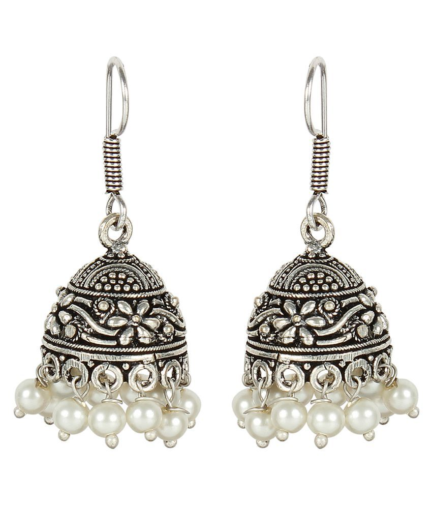 MUCH MORE Stylish Silver Plated Fashion Earring With Beautiful Dropping of Pearl Stone