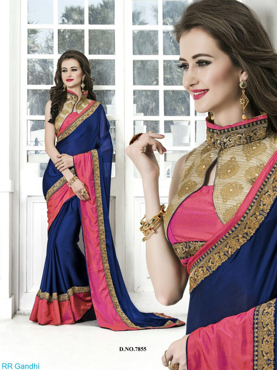 Darshita International Blue Chiffon Saree
