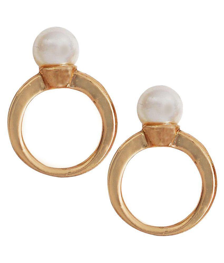 Maayra Women Earrings Dailywear Alloy Ear Stud White cute pearl Jewellery