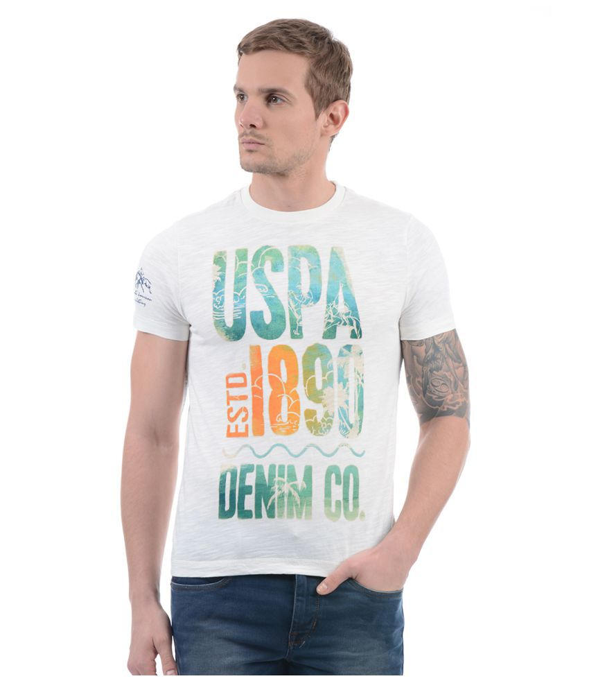 U.S. Polo Assn. White Round T-Shirt