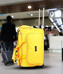 Bleu Amazing Yellow 2 Wheel Overnighter Travel Bag with Trolley