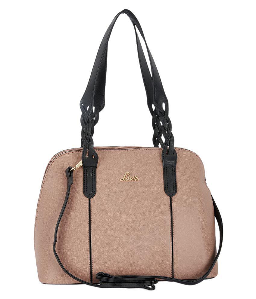 Lavie Peach Faux Leather Satchel Bag