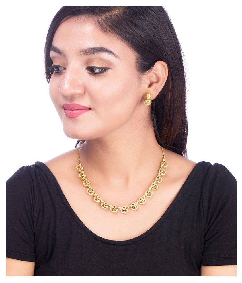Voylla CZ Studded Gold Plated Necklace Set from Blooming Dales
