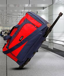 Bleu Amazing Red 2 Wheel Overnighter Travel Bag with Trolley