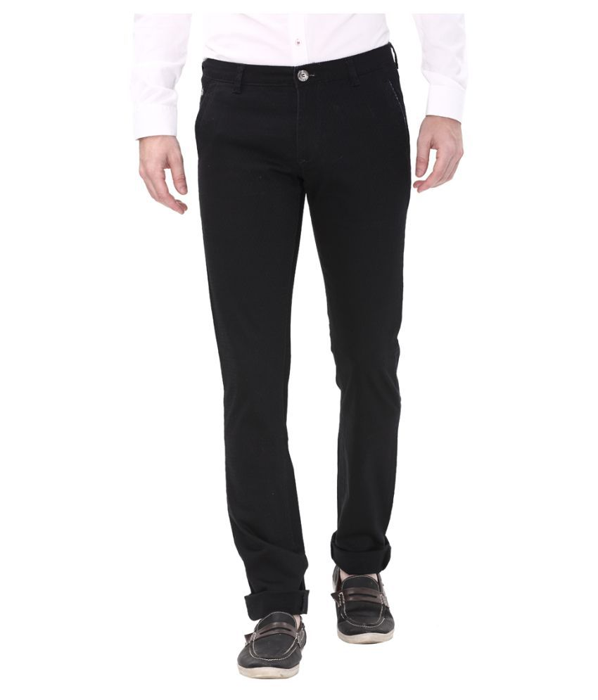 Apris Black Slim -Fit Flat Trousers