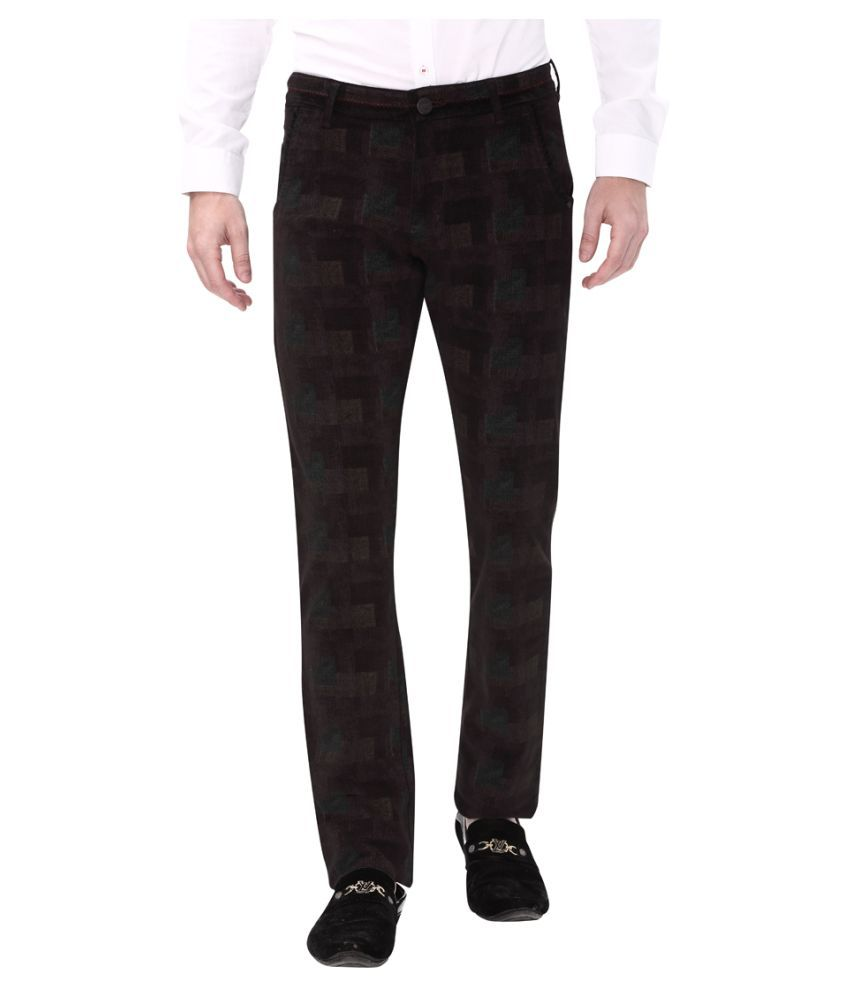 Apris Coffee Slim -Fit Flat Trousers