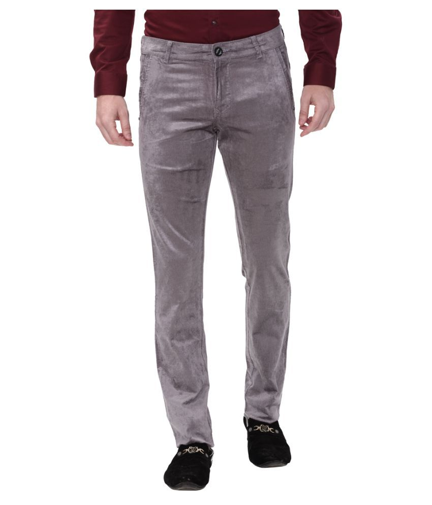 Apris Grey Slim -Fit Flat Trousers