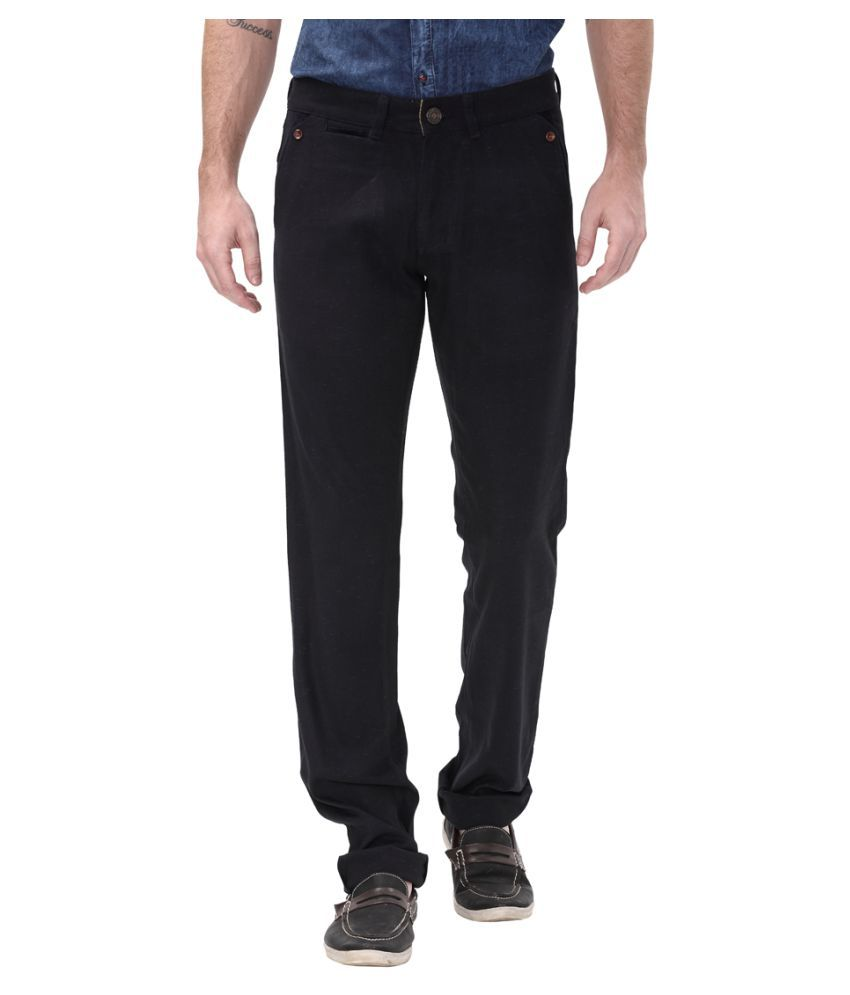 Apris Navy blue Slim -Fit Flat Trousers