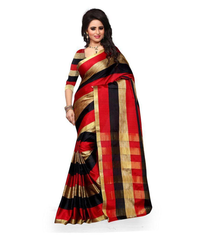 Urban India Red Cotton Saree