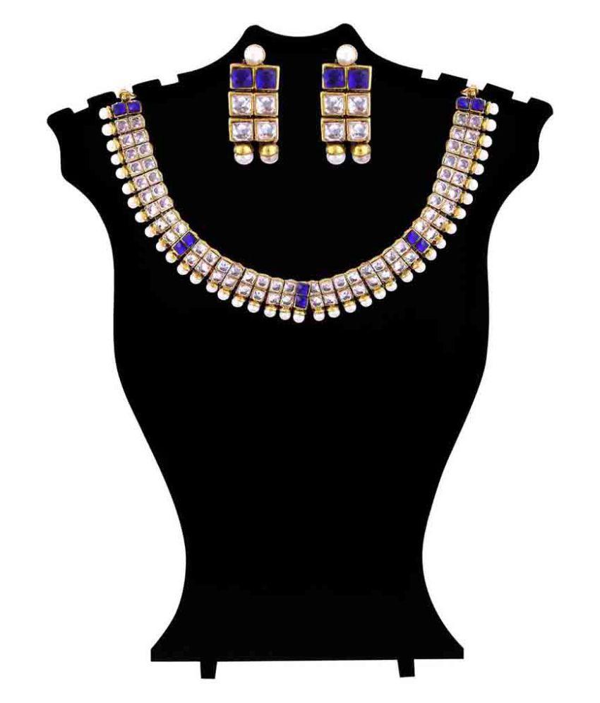 Maalyaa Brass Kundan Necklace Set for Women & Girls