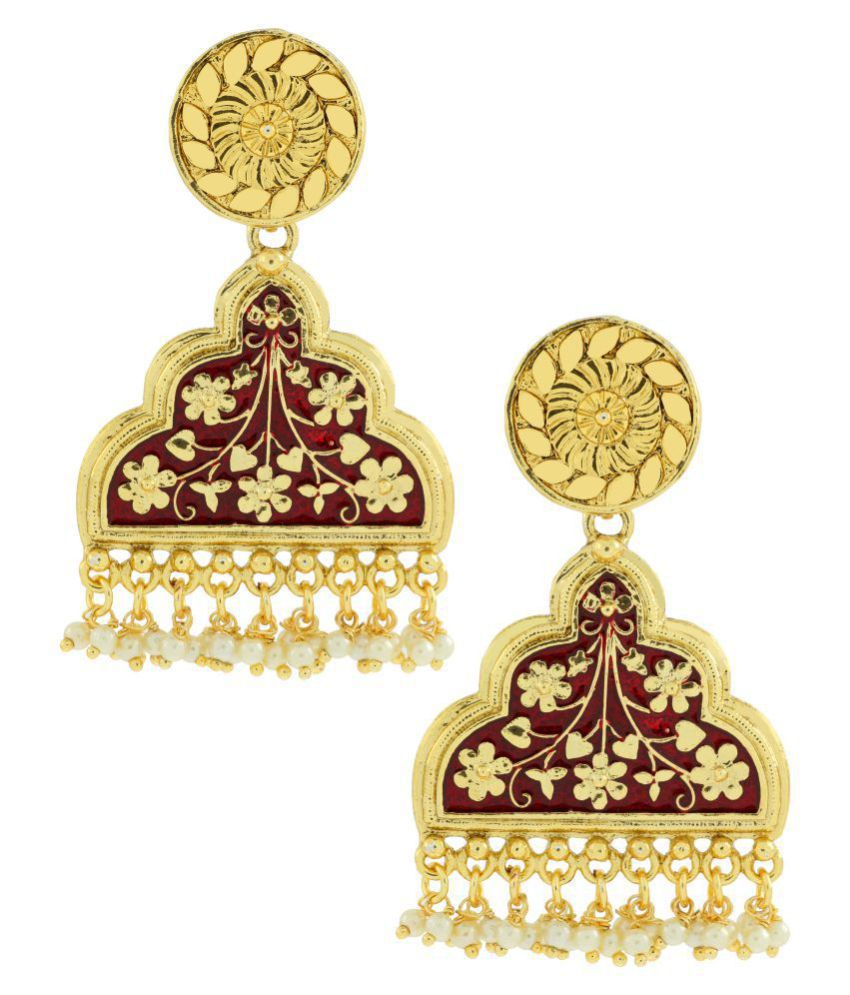 The Jewelbox Statement Long Maroon Red Enamel Meenakari Victorian Pearl 22K Gold Plated Dangle Earring For Women