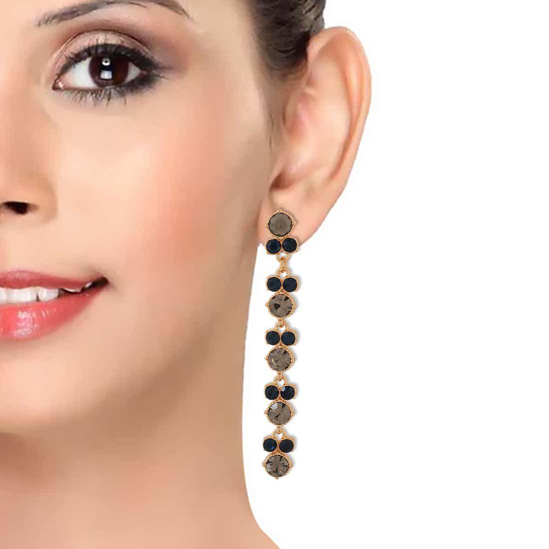 Maayra Classic Earrings Black Dangler Party Jewellery