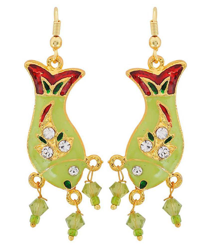 Maayra Fish Meenakari Earrings Green Red Dangler Drop Party Jewellery