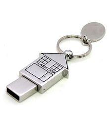 nexShop Metal Home Shape Keychain 8GB USB 2.0 Utility Pendrive Pack of 1
