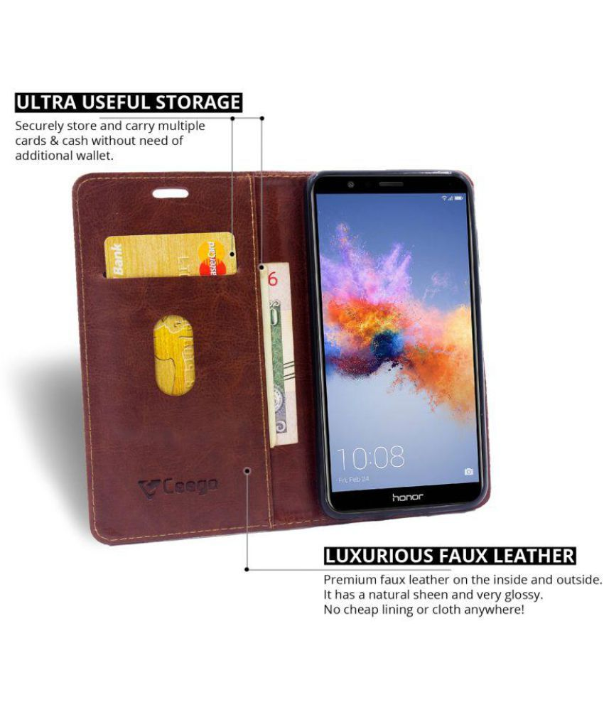 best service 95052 3384d Honor 7x Flip Cover by Ceego - Brown