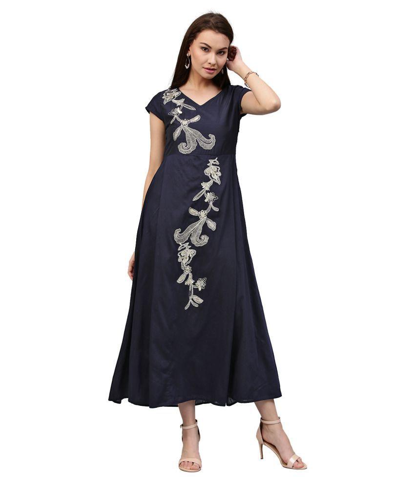 Jaipur Kurti Rayon Navy Dresses