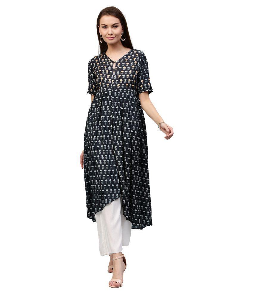 Jaipur Kurti Silk Blue Dresses