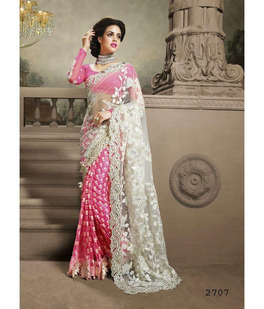 9ba35a7a9f SareeShop Designer SareeS Pink and Grey Chiffon Saree - Buy ...