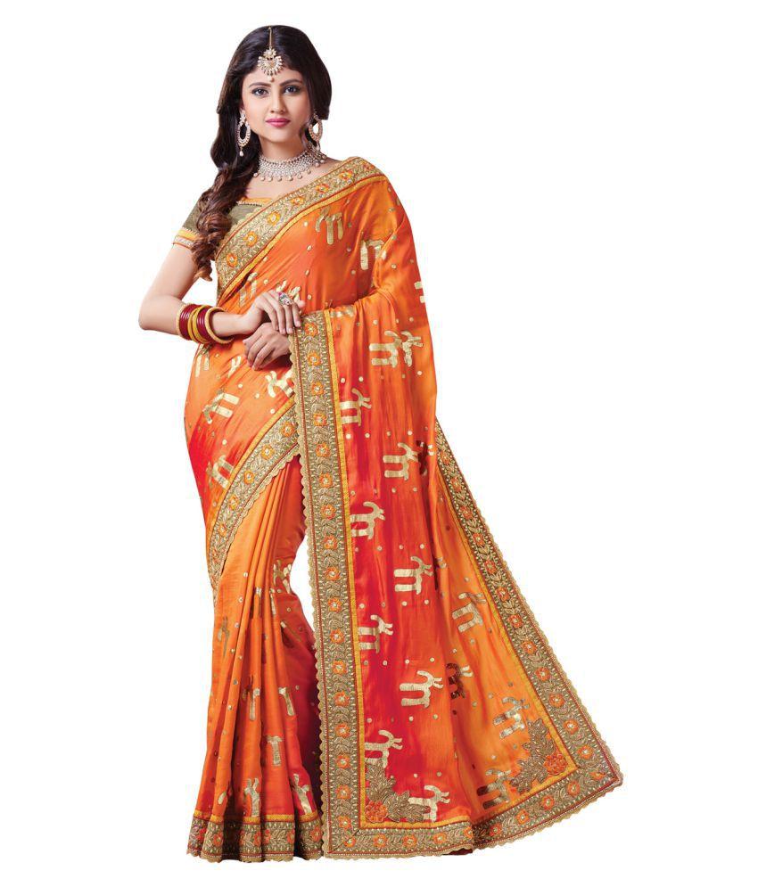 ODHNI Orange Silk Saree
