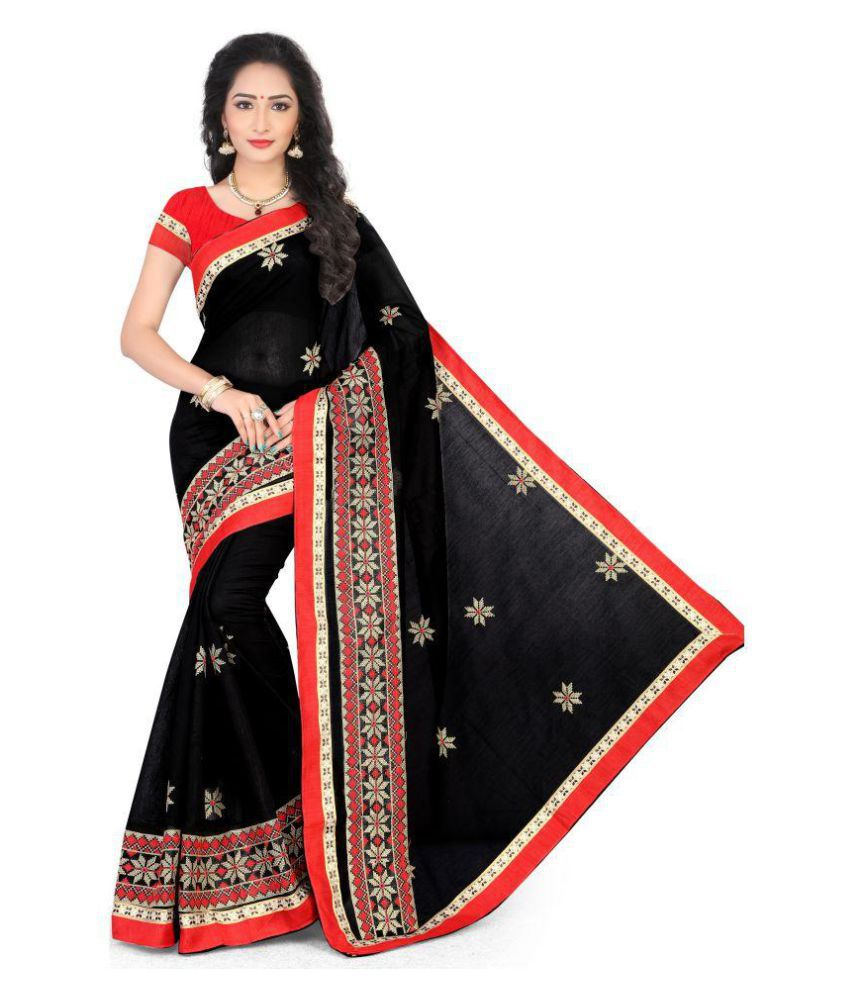 Vastrang Black Cotton Saree