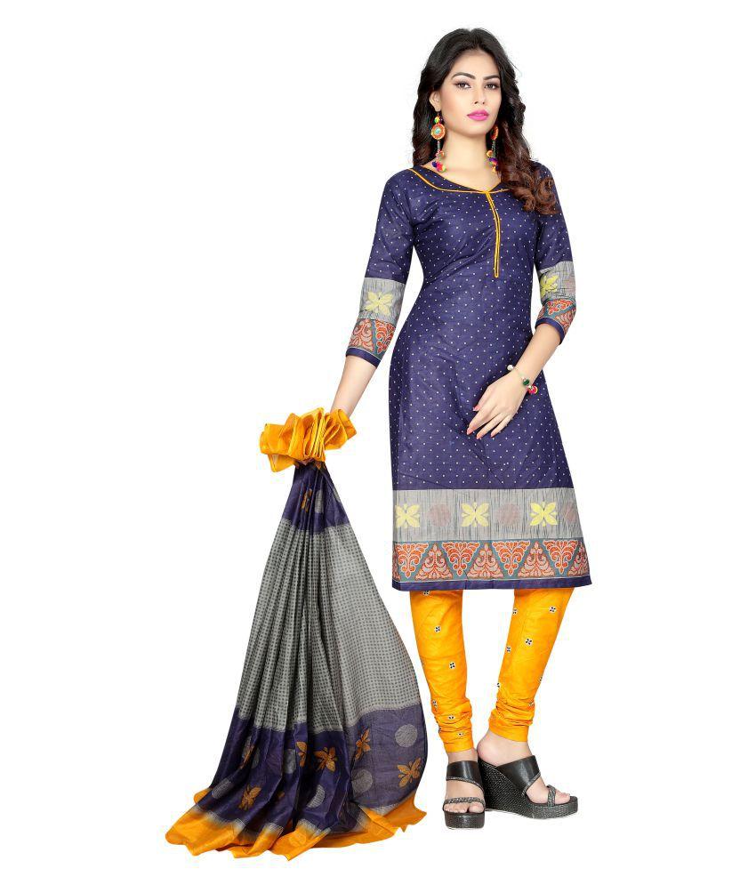 Nirja Fab blue Cotton Dress Material