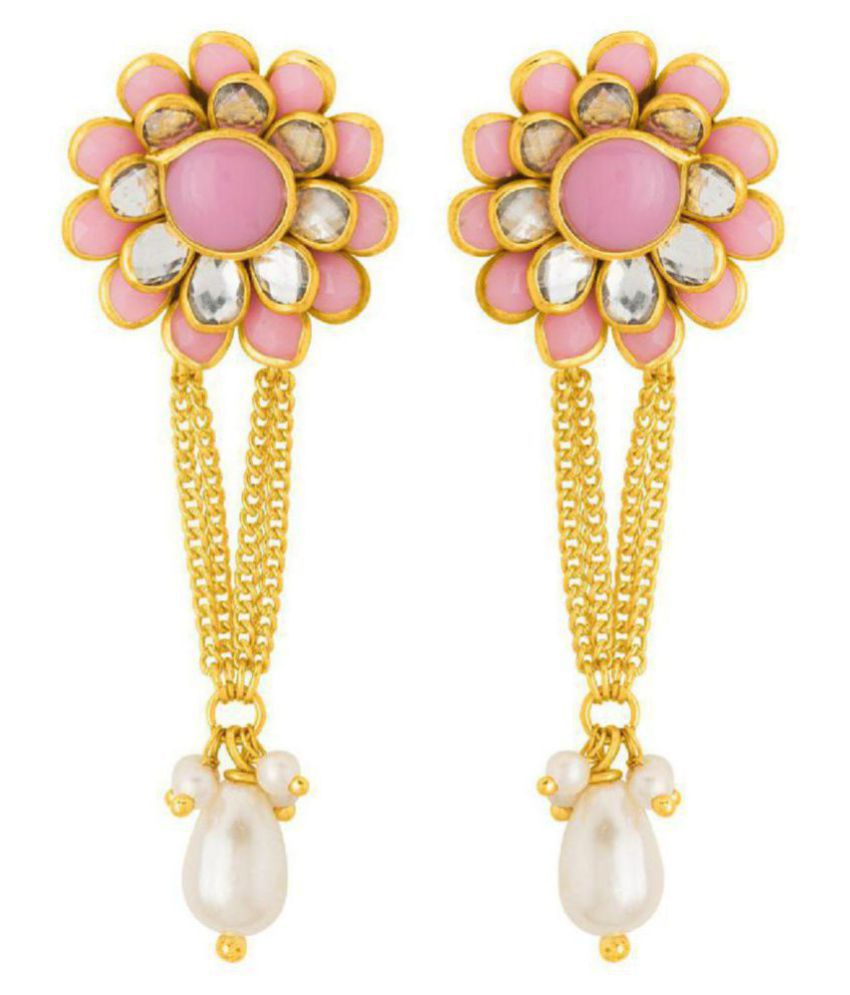 fafda622c6102 Voylla Floral Drop Earrings with Pink Gems For Women