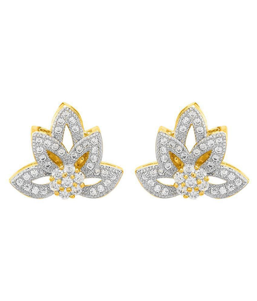 Voylla Leaf Designer CZ Sparkling Earring Pair  For Women