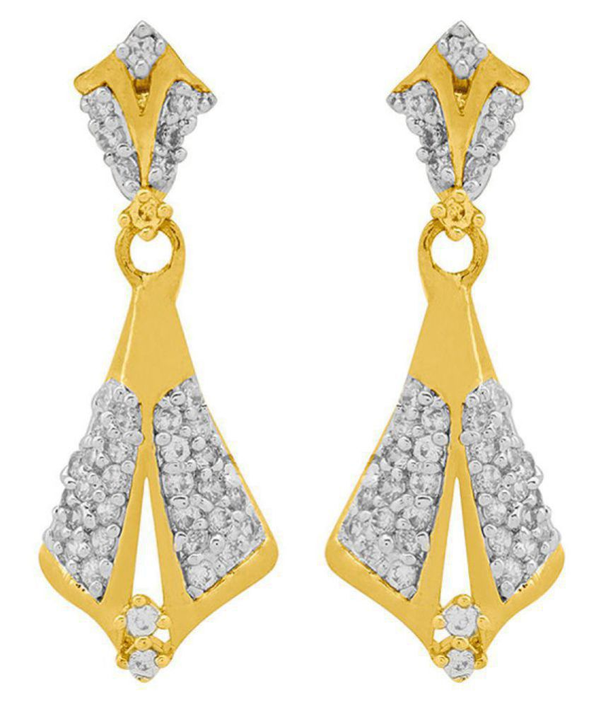 Voylla   Blossoms CZ Conical Drop Earrings For Women