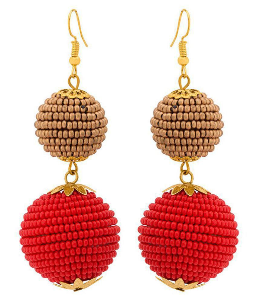 Voylla  Classy Dangler Earrings with Red and Golden Beads For Women