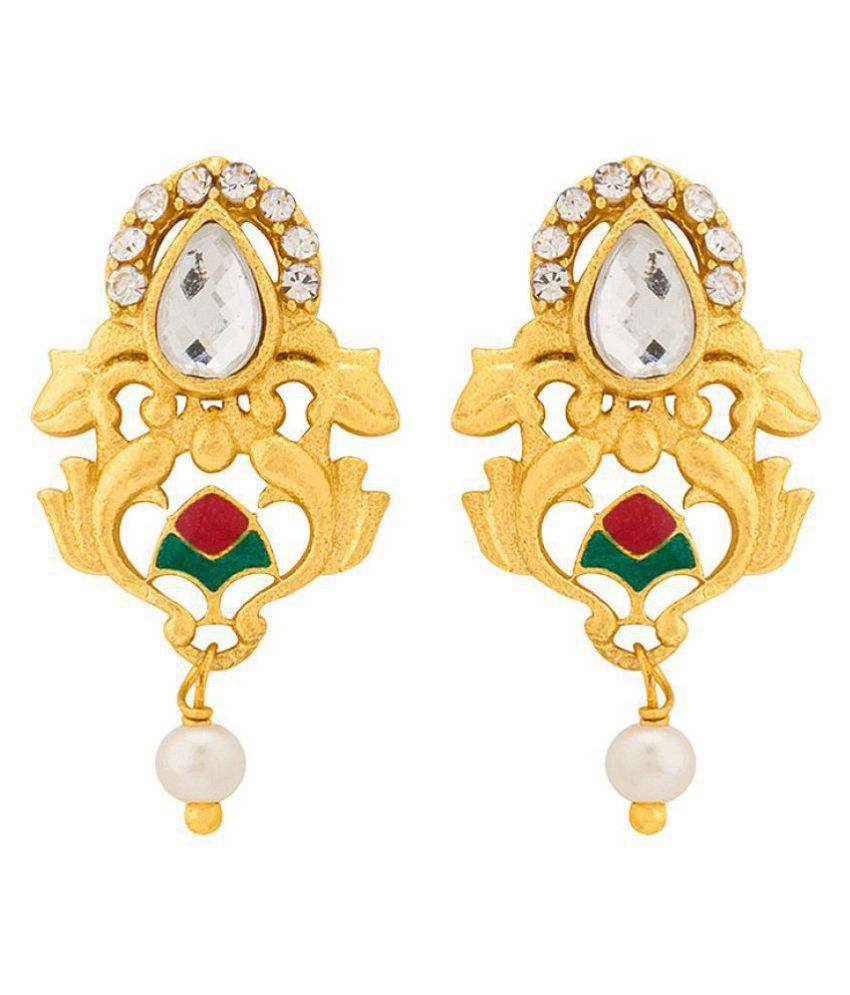 Voylla  Contemporary Gold Plated Floral Stud Earrings For Women