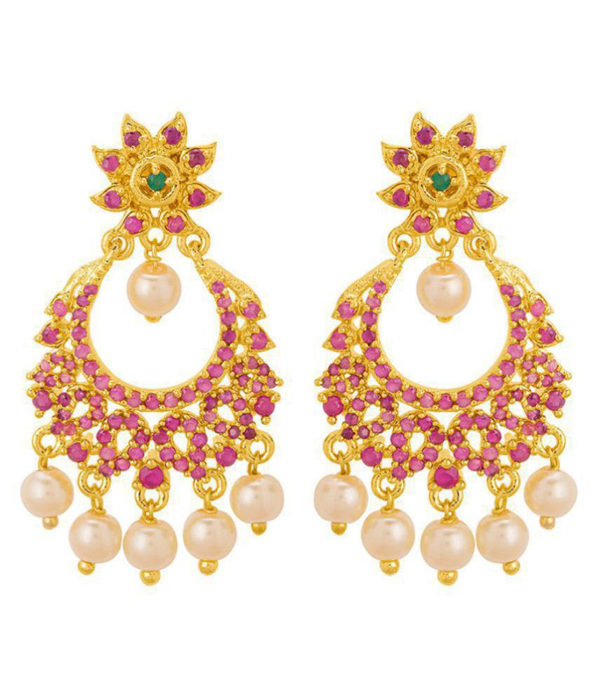 Voylla  Pink CZ Studded Drop Earrings with Gold Plated For Women