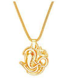 Shining Jewel 24K Gold Pendant Necklace With Om Ganesha For Men (SJ_2325)