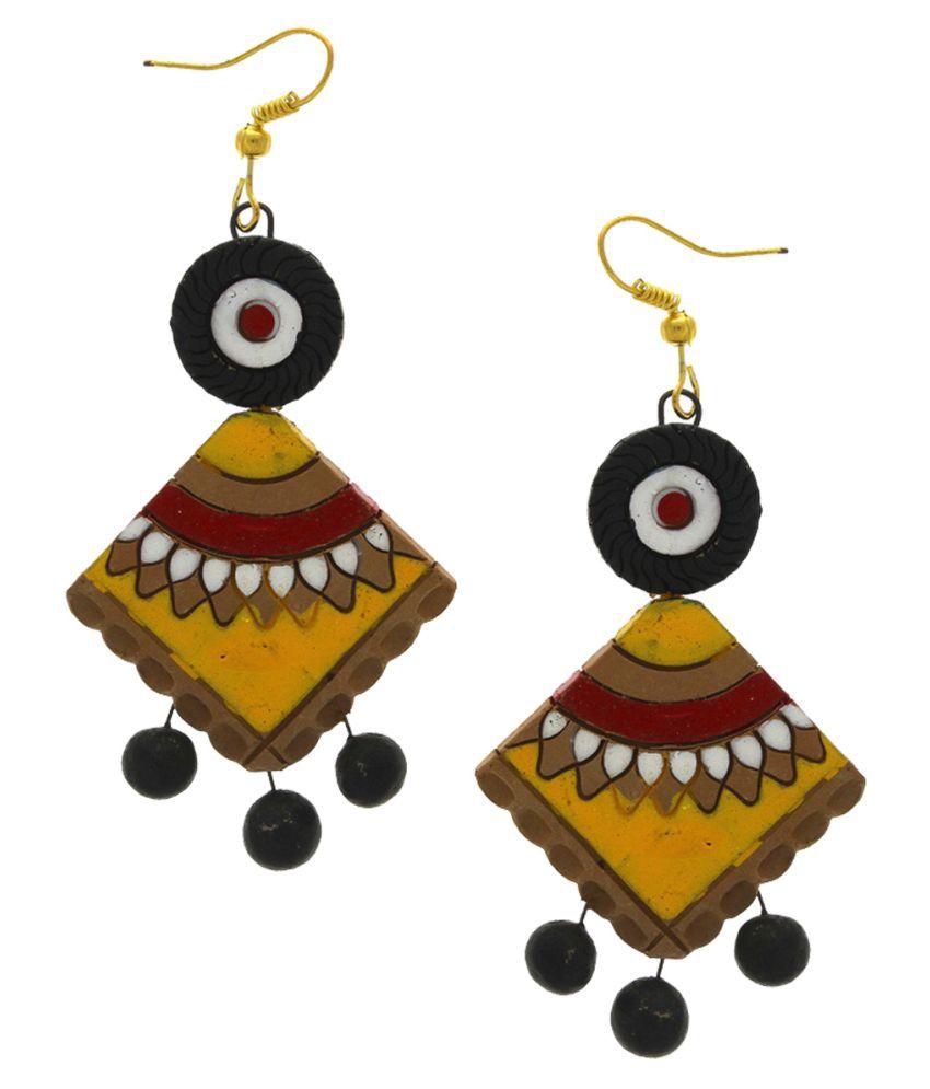 Anuradha Art Yellow-Red Colour Wonderful Designer Terracotta Earrings For Women/Girls