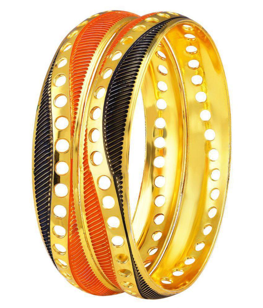 Asmitta Designer Meenakari Work Gold Plated Enamel Bangle For Women