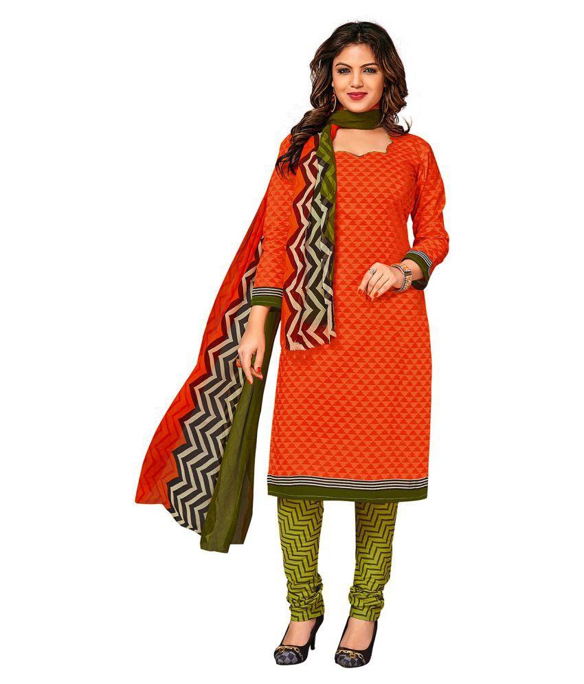 Jevi Prints Orange Cotton Dress Material
