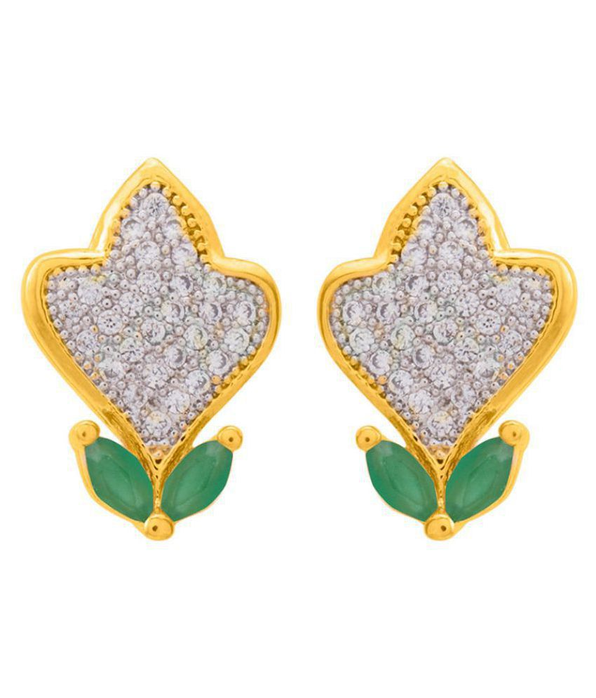 Leaf Detailing, Green CZ Adorned Stud Earrings For Women