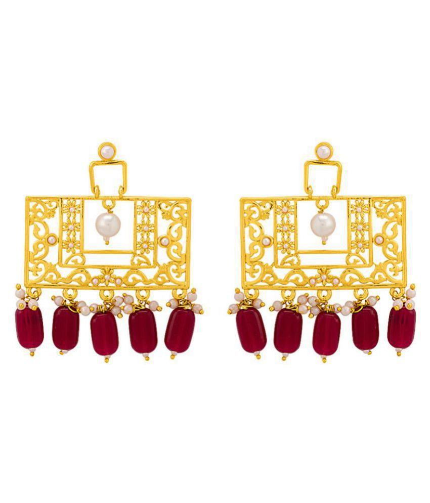 Rectangular Dangler Earrings For Women Dangled With Red Beads