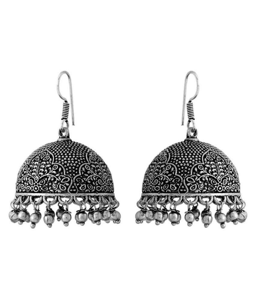 Textured Designer Oxidized Silver Jhumki Earring Pair For Women