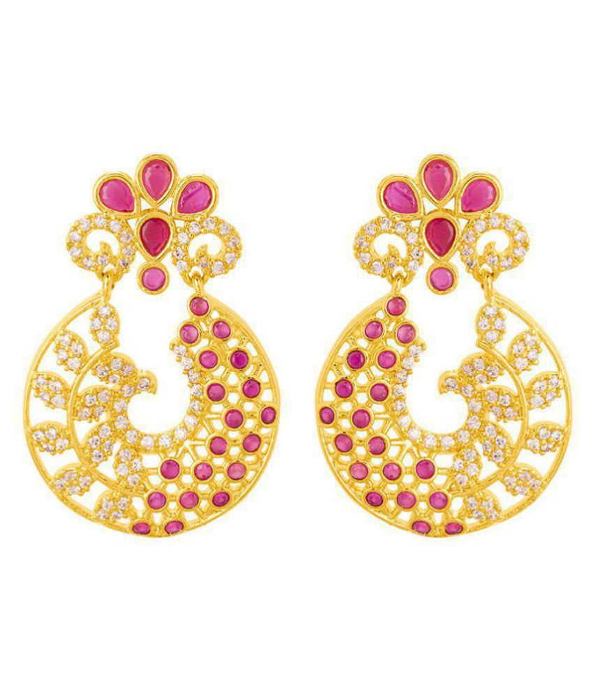 Voylla Classic Drop Earrings with CZ Embellishment