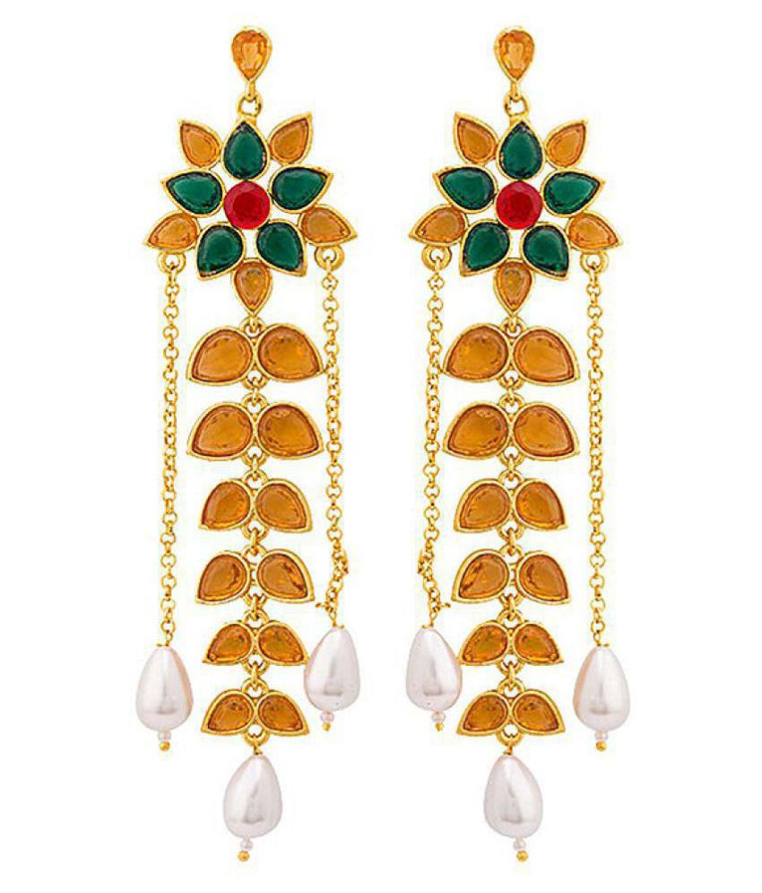 Voylla Gold Plated Elegant Dangler Earrings from Deewan