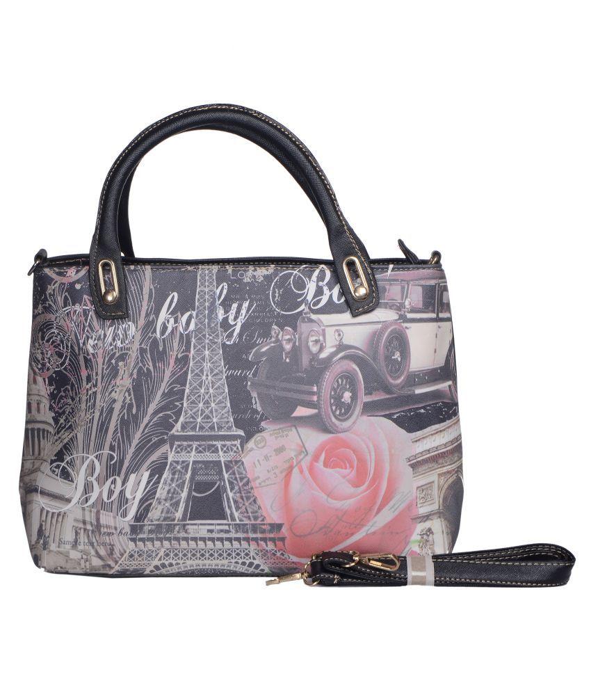 Senora Black P.U. Satchel Bag