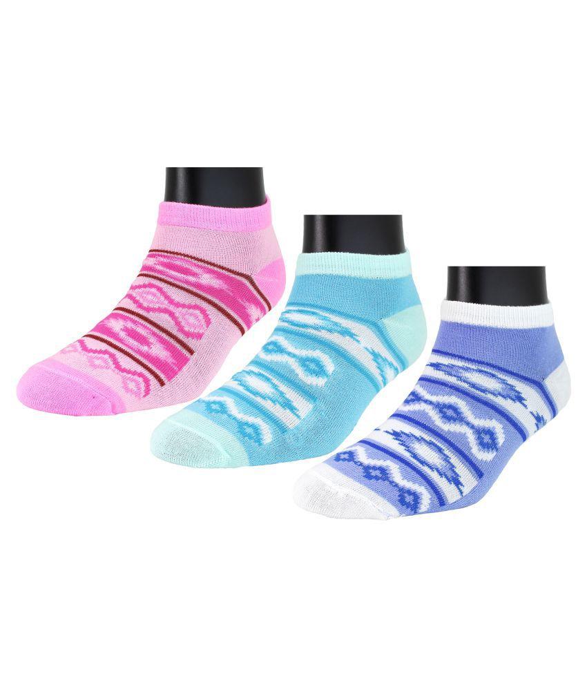 Neska Moda Women's 3 Pairs Cotton Ankle Length Socks -Blue,Pink-S778