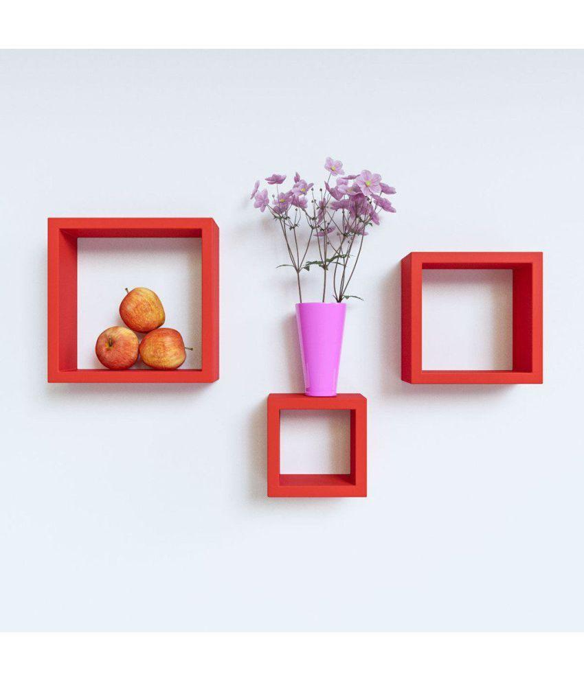 woodworld Floating Shelf/ Wall Shelf / Storage Shelf/ Decoration Shelf Red - Pack of 1