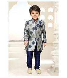 AJ Dezines Grey-Blue Silk Blend Sherwani For Boys