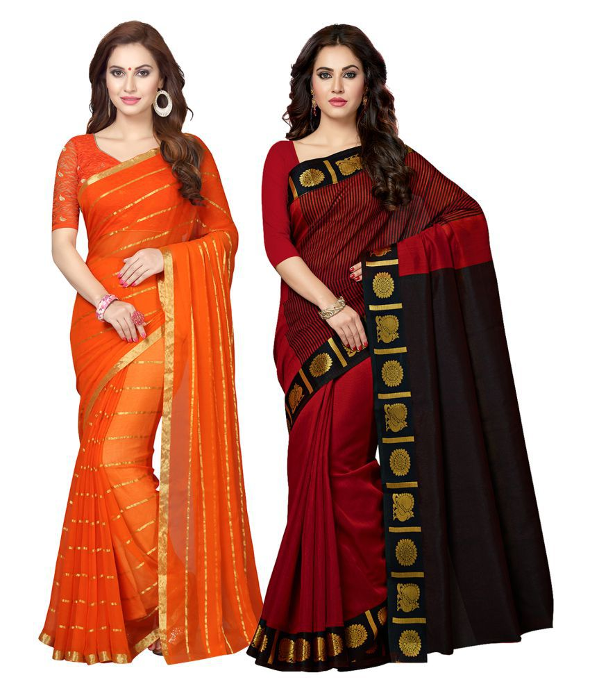 Ishin Multicoloured Chanderi Saree Combos
