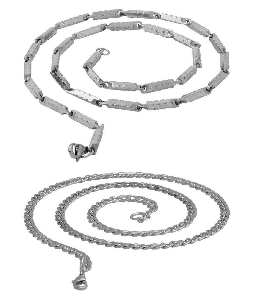Voylla Designer Silver Plated Set of 2 Chains
