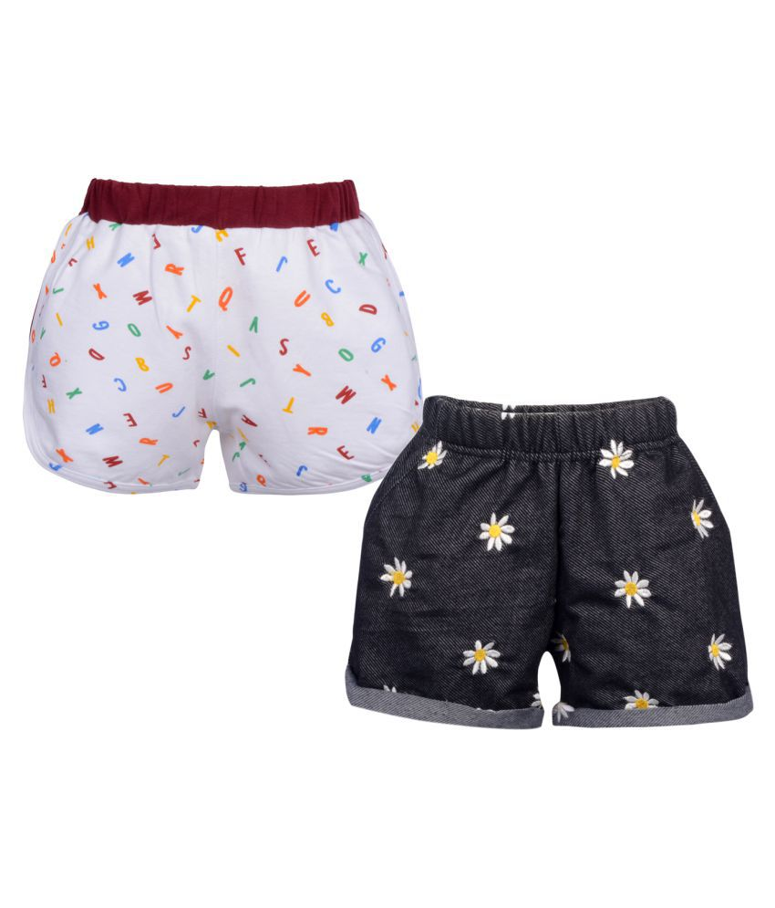 Gkidz Girls Pack of 2 Embroidered and Printed Shorts