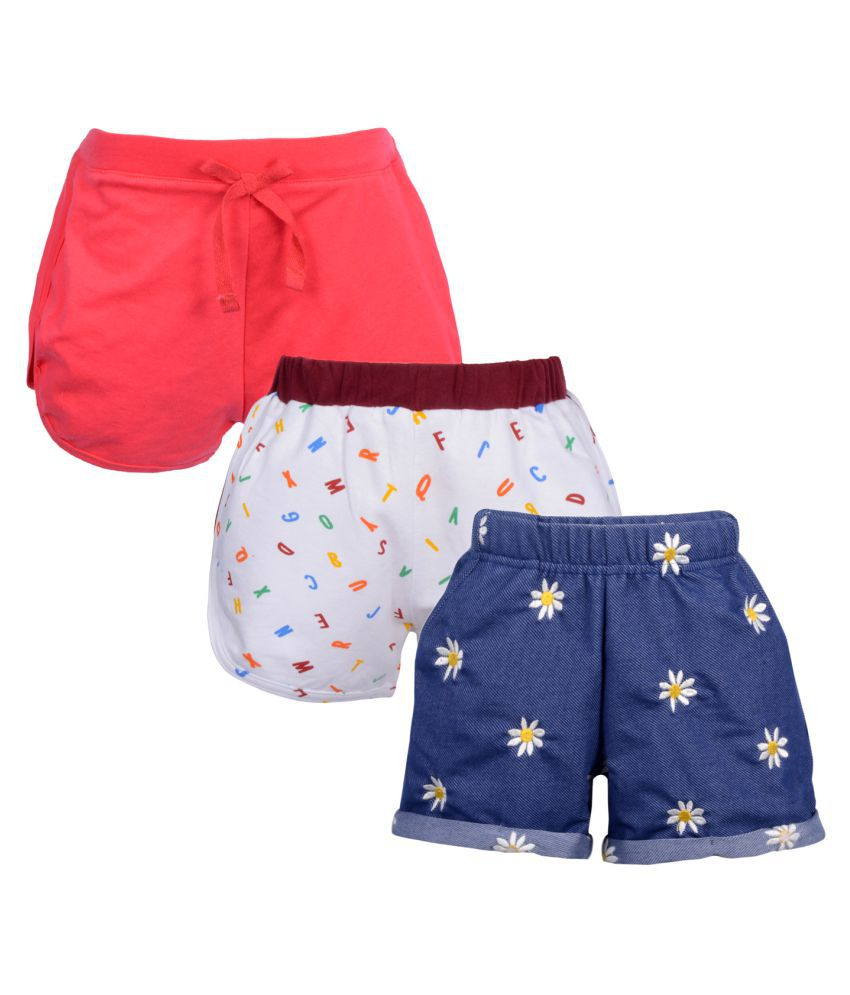 Teens Culture Girls Pack of 3 Embroidered Printed and Solid Shorts Combo