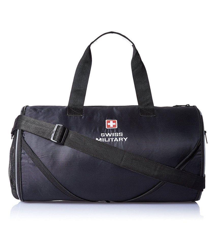 Swiss Military Black Polyester Gym Bag