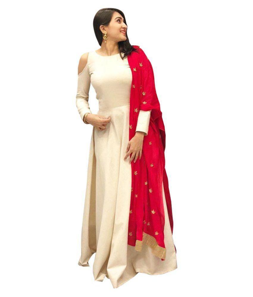 94ca394c39 ethnic diwa Red and Beige Silk Anarkali Semi-Stitched Suit - Buy ethnic  diwa Red and Beige Silk Anarkali Semi-Stitched Suit Online at Best Prices  in India ...